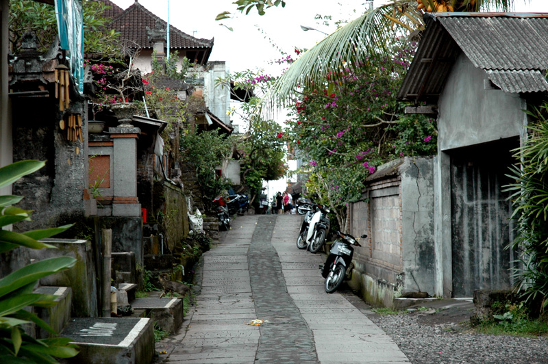 small road in a sweet art district in Ubud, Bali