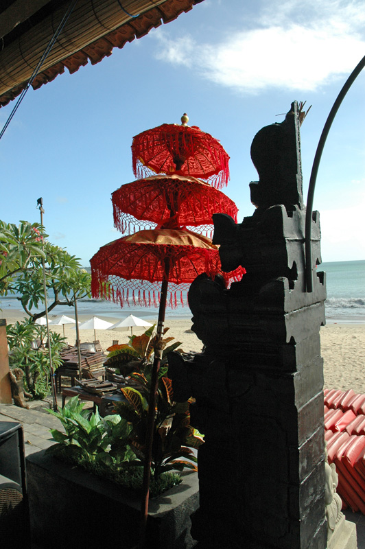 offering spot at a seaside restaurant, Jimbaran Beach